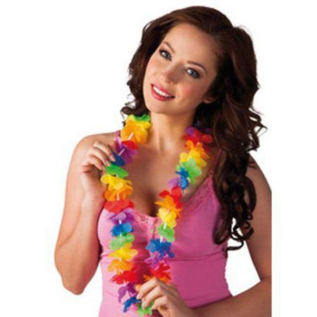 Γιρλάντα με πολύχρωμα χαβανέζικα λουλούδια 46cm