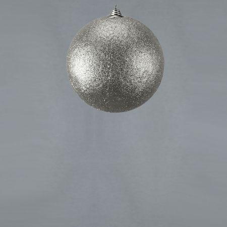 XL Διακοσμητική χριστουγεννιάτικη μπάλα Glitter Ασημί 13,5cm