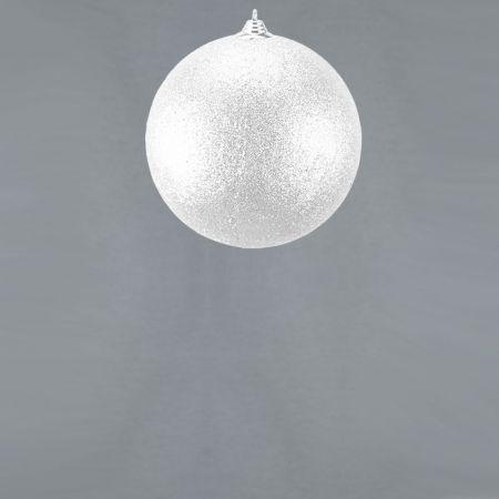 XL Διακοσμητική χριστουγεννιάτικη μπάλα Glitter Λευκή 13,5cm