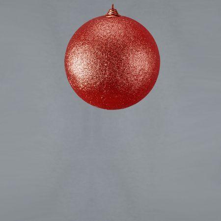 XL Διακοσμητική χριστουγεννιάτικη μπάλα Glitter Κόκκινη 13,5cm