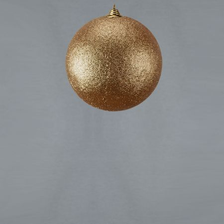 XL Διακοσμητική χριστουγεννιάτικη μπάλαGlitter Σαμπανί 13,5cm