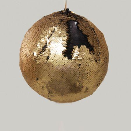 Κρεμαστή χριστουγεννιάτικη μπάλα με παγιέτες Χρυσό - Μαύρο 20cm