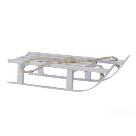 Ξύλινο έλκηθρο Λευκό με σχοινί 15x38cm