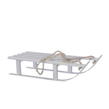 Ξύλινο έλκηθρο Λευκό με σχοινί 21x51cm