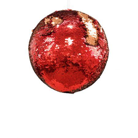 Κρεμαστή χριστουγεννιάτικη μπάλα με παγιέτες Χρυσό - Κόκκινο 15cm