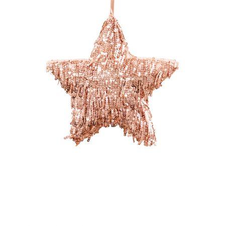 Κρεμαστό χριστουγεννιάτικο αστέρι με κρόσια - παγιέτες Ροζ 20cm