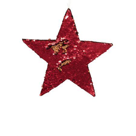 Κρεμαστό χριστουγεννιάτικο αστέρι παγιέτες Χρυσό - Κόκκινο 25cm