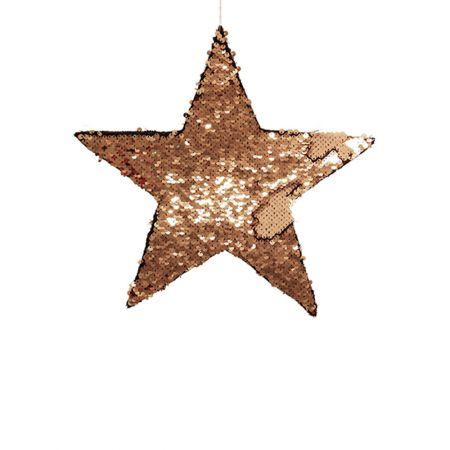 Κρεμαστό χριστουγεννιάτικο αστέρι παγιέτες Χρυσό - Σαμπανί 25cm