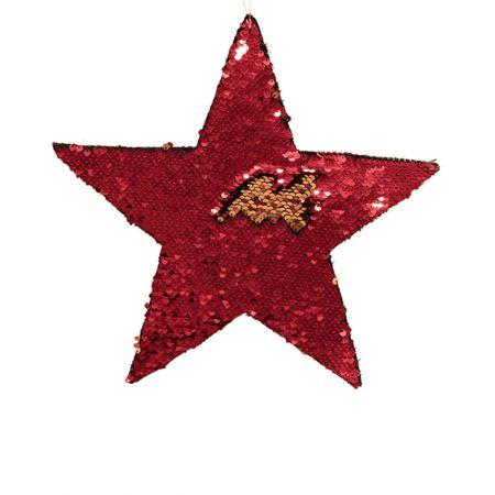 Κρεμαστό χριστουγεννιάτικο αστέρι παγιέτες Χρυσό - Κόκκινο 35cm