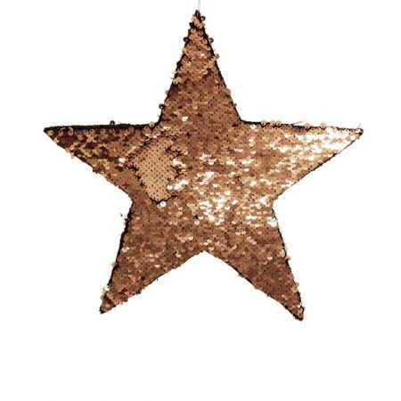 Κρεμαστό χριστουγεννιάτικο αστέρι παγιέτες Χρυσό - Σαμπανί 35cm