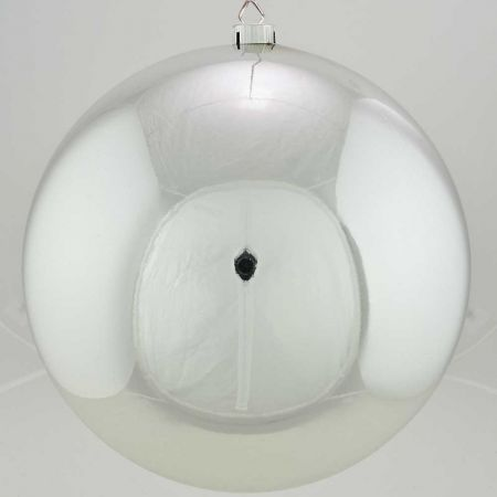XL Διακοσμητική χριστουγεννιάτικη μπάλα Ασημί γυαλιστερή 40cm