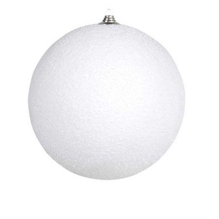 Κρεμαστή χιονόμπαλα Λευκή χιονισμένη 13,5cm