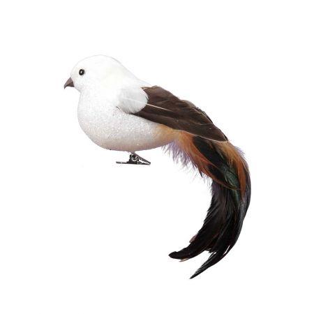 Διακοσμητικό πουλάκι με μακριά ουρά Λευκό - Καφέ 24cm