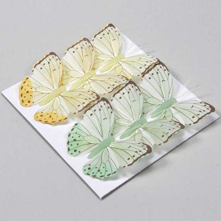 Σετ 6τχ διακοσμητικές πεταλούδες Κίτρινες και  Πράσινες με σύρμα 8cm