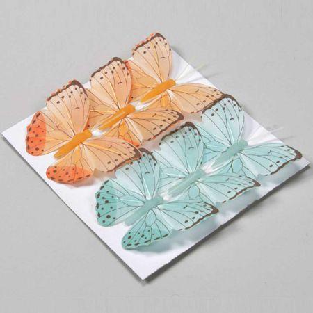 Σετ 6τχ διακοσμητικές πεταλούδες Πορτοκαλί και Γαλάζιες με σύρμα 8cm