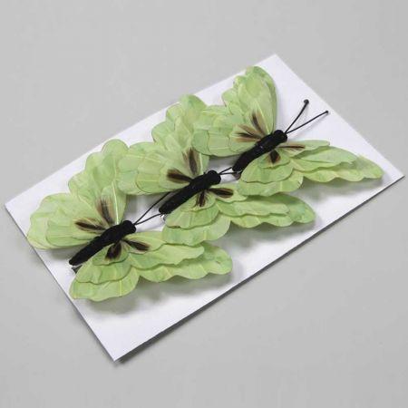 Σετ 3τχ διακοσμητικές πεταλούδες Πράσινες με κλιπ 15cm