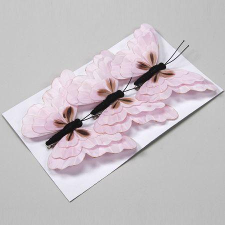 Σετ 3τχ διακοσμητικές πεταλούδες Ροζ με κλιπ 15cm