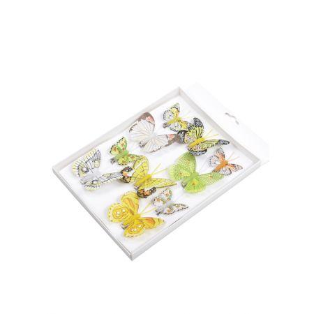 Σετ 10τχ Διακοσμητικές mini πεταλούδες με κλιπ Πράσινο- Κίτρινο 5-8cm