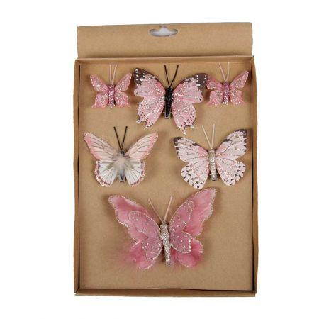 Σετ 6τχ Διακοσμητικές πεταλούδες Ροζ - Φούξια 5cm, 8cm, 12cm
