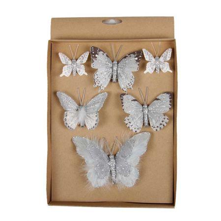 Σετ 6τχ Διακοσμητικές πεταλούδες Γκρι 5cm, 8cm, 12cm