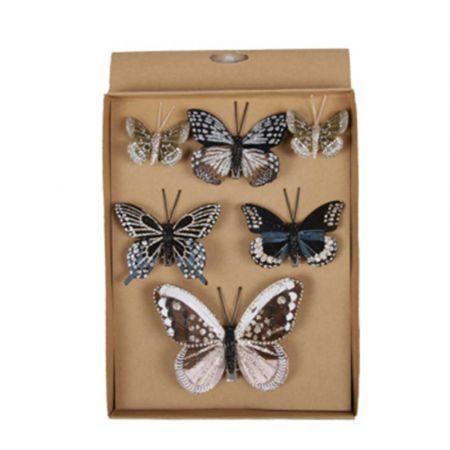 Σετ 6τχ Διακοσμητικές πεταλούδες Πολύχρωμες 5cm, 8cm, 12cm