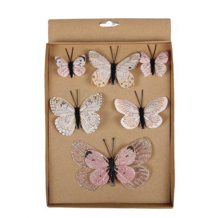 Σετ 6τχ Διακοσμητικές πεταλούδες Ροζ 5cm, 8cm, 12cm