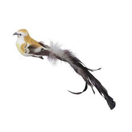 Διακοσμητικό πουλάκι με μακριά ουρά Χρυσό 21cm