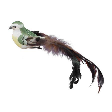 Διακοσμητικό πουλάκι με μακριά ουρά Πράσινο 21cm