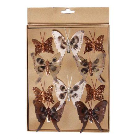 Σετ 3τχ διακοσμητικές πεταλούδες 4cm, 6cm, 7cm