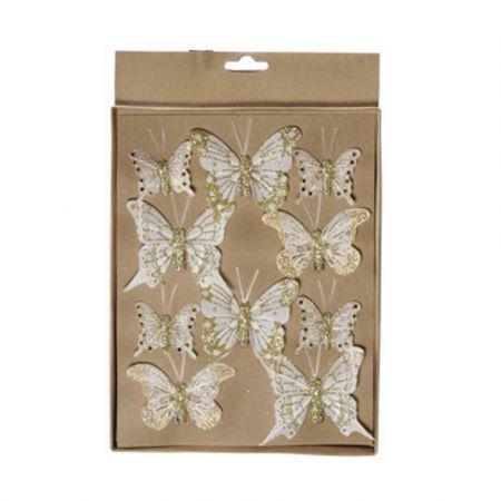Σετ 10τχ διακοσμητικές πεταλούδες Σαμπανί 4cm, 6cm, 7cm
