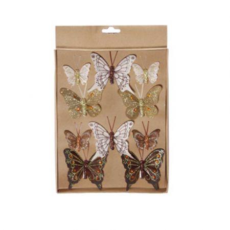 Σετ 10τχ διακοσμητικές πεταλούδες Καφέ - Χρυσό 4cm, 6cm, 7cm