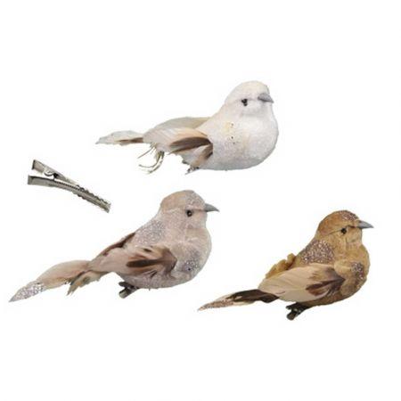 Σετ 3τχ Διακοσμητικά βελούδινα πουλάκια με glitter Λευκό - Μπεζ - Καφέ 13cm