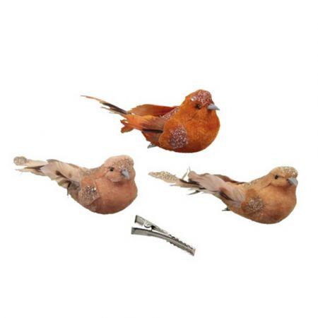 Σετ 3τχ Διακοσμητικά βελούδινα πουλάκια με glitter Χάλκινο - Καφέ 13cm
