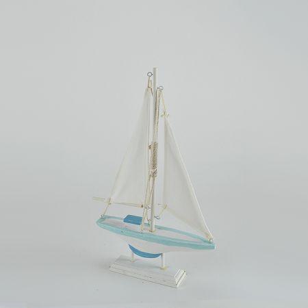 Διακοσμητικό ξύλινο καραβάκι Λευκό - Γαλάζιο 19x30cm