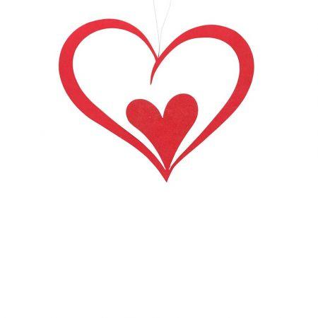 Διακοσμητική διπλή καρδιά Βαλεντίνου Κόκκινη 22cm