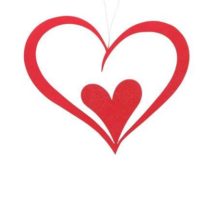 Διακοσμητική διπλή καρδιά Βαλεντίνου Κόκκινη 27x30cm