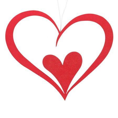 Διακοσμητική διπλή καρδιά Βαλεντίνου Κόκκινη 40x34cm