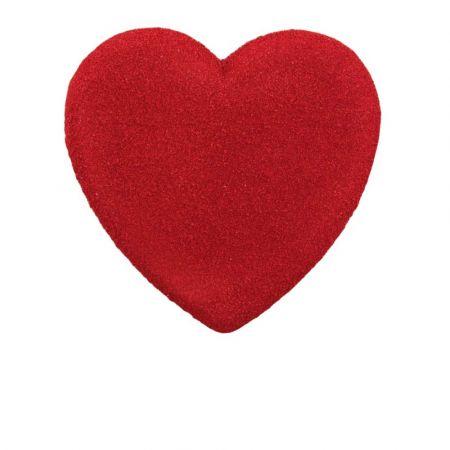 Διακοσμητική καρδιά Βαλεντίνου σαγρέ Κόκκινη 30x29cm