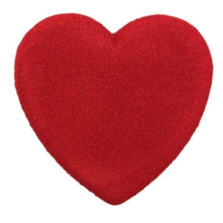 Διακοσμητική καρδιά Βαλεντίνου σαγρέ Κόκκινη 40x38cm