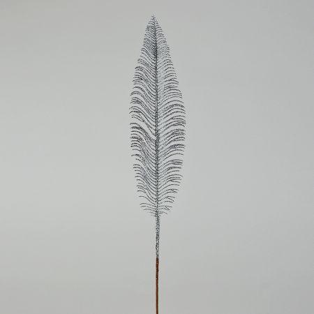 Διακοσμητικό Χριστουγεννιάτικο φτερό με glitter Ασημί 56cm