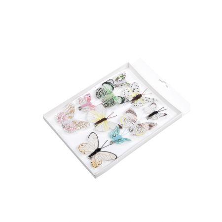 Σετ 10τχ διακοσμητικές mini πεταλούδες με κλιπ Ροζ - Μπλε 5-8cm