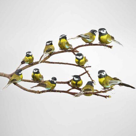 Σετ 12τμχ. Διακοσμητικά πουλάκια Καφέ - Κίτρινο 9cm