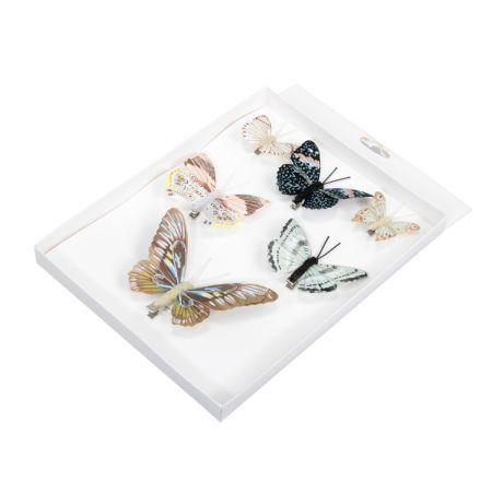 Σετ 6τχ Διακοσμητικές mini πεταλούδες με κλιπ 5-12cm