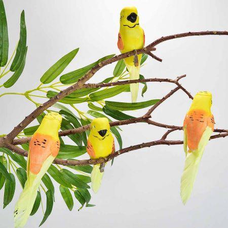 Σετ 4τχ Διακοσμητικά παπαγαλάκια Parakeet με κλιπ Κίτρινο - Πορτοκαλί 15cm