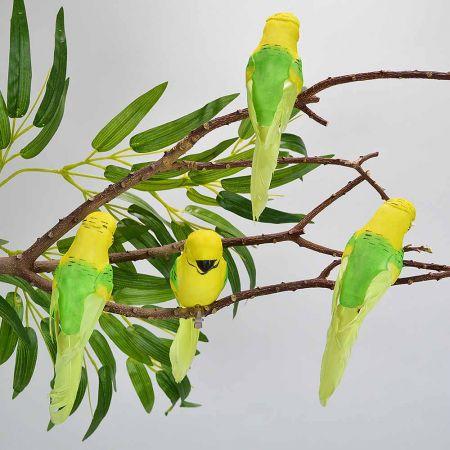 Σετ 4τχ Διακοσμητικά παπαγαλάκια Parakeet με κλιπ Κίτρινο - Πράσινο 15cm