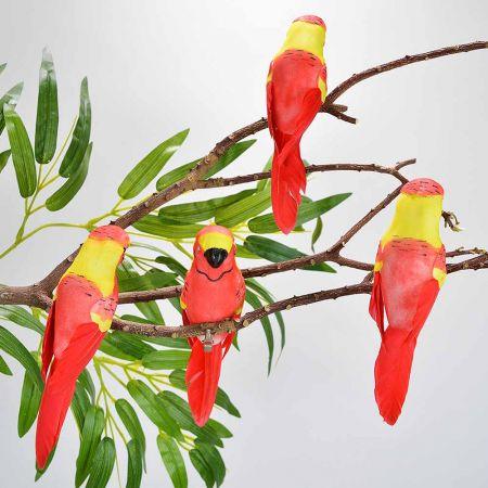Σετ 4τχ Διακοσμητικά παπαγαλάκια Parakeet με κλιπ Κόκκινο - Κίτρινο 15cm