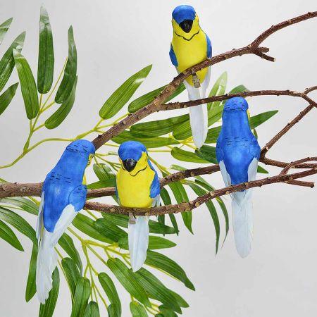 Σετ 4τχ Διακοσμητικά παπαγαλάκια Parakeet με κλιπ Μπλε - Κίτρινο 15cm