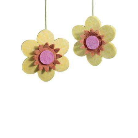 Σετ 2τχ. διακοσμητικά κρεμαστά άνθη, κίτρινα 30cm