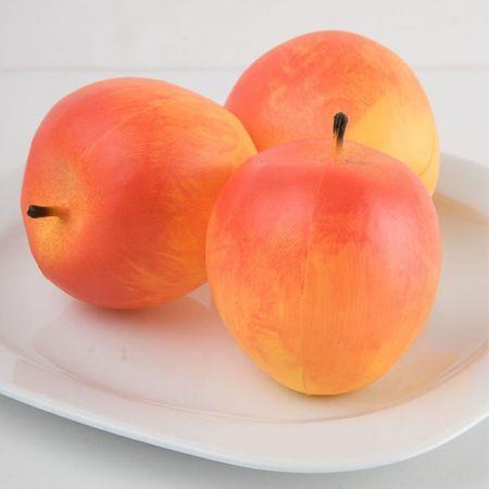 Σετ 3τμχ Διακοσμητικά μήλα μεγάλα - απομίμηση Κίτρινα 8cm