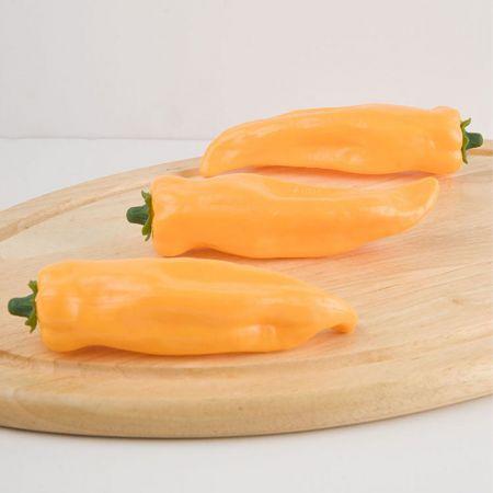 Σετ 3τμχ Διακοσμητικές πιπεριές Φλωρίνης - απομίμηση Κίτρινες 16x9cm